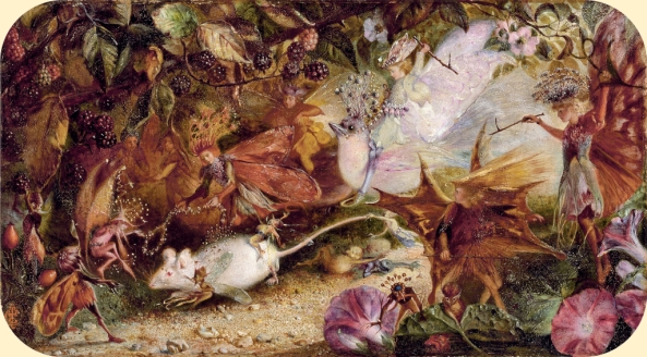 john anster fitzgerald-fairy fitzgerald-the chase of the white mouse-fairy-fairies-little people-wee folk-fairy ring-flowers-chase-hunt-white mouse